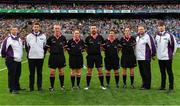 24 September 2017; Referee Seamus Mulvihill and his match officials prior to the TG4 Ladies Football All-Ireland Senior Championship Final match between Dublin and Mayo at Croke Park in Dublin. Photo by Brendan Moran/Sportsfile