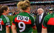 24 September 2017; President of Ireland Michael D. Higgins meets Fiona McHale of Mayo prior to the TG4 Ladies Football All-Ireland Senior Championship Final match between Dublin and Mayo at Croke Park in Dublin. Photo by Brendan Moran/Sportsfile