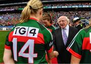 24 September 2017; President of Ireland Michael D. Higgins meets Cora Staunton of Mayo prior to the TG4 Ladies Football All-Ireland Senior Championship Final match between Dublin and Mayo at Croke Park in Dublin. Photo by Brendan Moran/Sportsfile