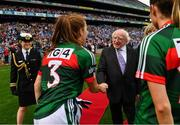 24 September 2017; President of Ireland Michael D. Higgins meets Mayo captain Sarah Tierney prior to the TG4 Ladies Football All-Ireland Senior Championship Final match between Dublin and Mayo at Croke Park in Dublin. Photo by Brendan Moran/Sportsfile