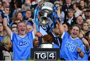 24 September 2017; Carla Rowe, left, and Martha Byrne of Dublin lift the Brendan Martin Cup after the TG4 Ladies Football All-Ireland Senior Championship Final match between Dublin and Mayo at Croke Park in Dublin. Photo by Brendan Moran/Sportsfile