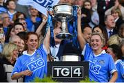 24 September 2017; Sinéad O'Mahony, left, and Fiona Hudson of Dublin lift the Brendan Martin Cup after the TG4 Ladies Football All-Ireland Senior Championship Final match between Dublin and Mayo at Croke Park in Dublin. Photo by Brendan Moran/Sportsfile
