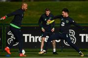2 October 2017; Republic of Ireland's Darren Randolph, left, and Scott Hogan during squad training at the FAI National Training Centre in Abbotstown, Dublin. Photo by Stephen McCarthy/Sportsfile