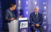 2 October 2017; Bord Gáis Energy Judge Ger Cunningham is interviewed by Micheál Ó Domhnaill of TG4 at the Bord Gáis Energy Team of the Year Awards in Croke Park. Photo by Piaras Ó Mídheach/Sportsfile