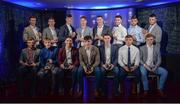 2 October 2017; In attendance at the Bord Gáis Energy Team of the Year Awards are, back row from left, Limerick's Ronan Lynch, Kilkenny's Conor Delaney, Limerick's Kyle Hayes, Limerick's Cian Lynch, Cork's Declan Dalton, Kilkenny's Darren Brennan, Limerick's Colin Ryan and Kilkenny's Jason Cleere.  Front row, from left, Limerick's Peter Casey, Galway's Conor Whelan, Limerick's Sean Finn, Limerick's Aaron Gillane, Galway's Sean Loftus, Limerick's Robbie Hanley and Galway's Thomas Monaghan, in Croke Park. Photo by Piaras Ó Mídheach/Sportsfile