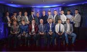 2 October 2017; In attendance at the Bord Gáis Energy Team of the Year Awards are, back row from left, Galway's Sean Loftus, Limerick's Aaron Gillane, Limerick's Ronan Lynch, Kilkenny's Conor Delaney, Limerick's Kyle Hayes, judge Micheál Ó Domhnaill, judge Joe Canning, Limerick's Cian Lynch, Cork's Declan Dalton, Kilkenny's Darren Brennan, Limerick's Colin Ryan, Kilkenny's Jason Cleere. Front row, from left, Limerick's Peter Casey, Galway's Conor Whelan, Limerick's Sean Finn, judge Ger Cunningham, judge Ken McGrath, Limerick's Robbie Hanley and Galway's Thomas Monaghan, in Croke Park. Photo by Piaras Ó Mídheach/Sportsfile