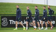 4 October 2017; Republic of Ireland players, from left, Shane Duffy, James McClean, James McCarthy, Ciaran Clark and David Meyler arrive for squad training at the FAI National Training Centre in Abbotstown, Dublin. Photo by Stephen McCarthy/Sportsfile