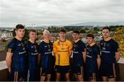 4 October 2017; DCU players, from left, Steven O'Brien, Tipperary football, Conor Delaney, Kilkenny hurling, Fergal Whitely, Dublin hurling, Evan Comerford, Dublin football, Diarmuid Murtagh, Roscommon football, Peadar Mogan, Donegal football, and Diarmuid O'Connor, Mayo football, in attendance during the launch of the new DCU Dóchas Éireann GAA jersey sponsored by Bank Of Ireland at, DCU, St Patrick's Campus, in Drumcondra, Dublin. Photo by Piaras Ó Mídheach/Sportsfile