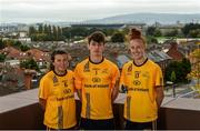 4 October 2017; DCU 2017 All-Ireland winners with their county, from left, Leah Caffrey, Dublin ladies football, Evan Comerford, Dublin football, and Aisling Maloney, Tipperary ladies football, in attendance during the launch of the new DCU Dóchas Éireann GAA jersey sponsored by Bank Of Ireland at, DCU, St Patrick's Campus, in Drumcondra, Dublin. Photo by Piaras Ó Mídheach/Sportsfile