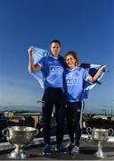 5 October 2017; AIG Insurance, proud sponsor of the Dubs celebrated the Dublin Footballers' and Dublin Ladies Footballers' double All-Ireland victory today by announcing great discounts on travel insurance for Dublin GAA fans. See www.aig.ie/dubs for more. Pictured at the event are Dean Rock with the Sam Maguire Cup and Sinéad Finnegan of Dublin with the Brendan Martin Cup. Photo by Sam Barnes/Sportsfile
