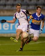 29 September 2017; Paul Mannion of Kilmacud Crokes scores his side's second goal as Peter Sherry of Castleknock closes in during the Dublin County Senior Football Championship Quarter-Final match beween Castleknock and Kilmacud Crokes at Parnell Park in Dublin. Photo by Piaras Ó Mídheach/Sportsfile