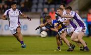 29 September 2017; Colin Lynch of Castleknock in action against, from left, Cian O'Sullivan, Paul Mannion and Cillian O'Shea of Kilmacud Crokes during the Dublin County Senior Football Championship Quarter-Final match beween Castleknock and Kilmacud Crokes at Parnell Park in Dublin. Photo by Piaras Ó Mídheach/Sportsfile