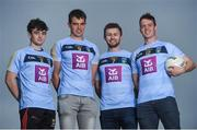 6 October 2017; Wearing this season's new jersey, UCD students and Footballers Conor McCarthy of Monaghan, Jack Barry of Kerry, Jack McCaffrey of Dublin and Stephen Coen of Mayo are pictured at the announcement of AIB's three year sponsorship renewal of UCD GAA. The long standing sponsorship extends across Gaelic football, hurling ladies Gaelic football, camogie and handball. Photo by David Fitzgerald/Sportsfile