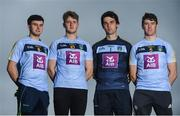 6 October 2017; Wearing this season's new jersey, UCD students and Hurlers, from left, Padraic Guinan of Offaly, Seamus Flanagan of Limerick, Darragh Holohan of Kilkenny and Tadhg de Búrca of Waterford are pictured at the announcement of AIB's three year sponsorship renewal of UCD GAA. The long standing sponsorship extends across Gaelic football, hurling ladies Gaelic football, camogie and handball. Photo by David Fitzgerald/Sportsfile