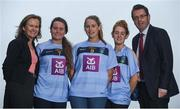6 October 2017; Wearing this season's new jersey, from left, UCD students and Ladies Footballers Martha Byrne of Dublin, Sarah Gormally of Galway and Nicola Ward of Galway are pictured alongside AIB representatives Maeve Lavin and Eddie Buckley at the announcement of AIB's three year sponsorship renewal of UCD GAA. The long standing sponsorship extends across Gaelic football, hurling ladies Gaelic football, camogie and handball. Photo by David Fitzgerald/Sportsfile