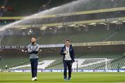 6 October 2017; Republic of Ireland assistant manager Roy Keane, right, and David Meyler prior to the FIFA World Cup Qualifier Group D match between Republic of Ireland and Moldova at Aviva Stadium in Dublin. Photo by Stephen McCarthy/Sportsfile