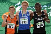 28 July 2012; Winner of the Boy's Under-18 Long Jump event Eoin O'Carroll, Tralee Harriers A.C., Co. Kerry, centre, with second placed Dan Finnerty, Nenagh Olympic A.C., Co. Tipperary, left, and third placed Emmanuel Ogbonna, Tramore A.C., Co. Waterford. Woodie's DIY Juvenile Track and Field Championships of Ireland, Tullamore Harriers Stadium, Tullamore, Co. Offaly. Picture credit: Tomas Greally / SPORTSFILE