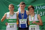 28 July 2012; Winner of the Boy's Under-18 1500m event Rob Tully, Star of the Sea A.C., Co. Meath, centre, with second placeed Kyle Larkin, Emerald A.C., Co. Limerick, left, and third placed Colin O'Mara, Emerald A.C., Co. Limerick. Woodie's DIY Juvenile Track and Field Championships of Ireland, Tullamore Harriers Stadium, Tullamore, Co. Offaly. Picture credit: Tomas Greally / SPORTSFILE