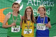 28 July 2012; Winner of the Girl's Under-14 200m event Kate Bernard, Bandon A.C., Co. Cork, centre, with second placed Ellie O'Toole, Newbridge A.C., Co. Kildare, left, and third placed Janine Boyle, Finn Valley A.C., Co. Donegal. Woodie's DIY Juvenile Track and Field Championships of Ireland, Tullamore Harriers Stadium, Tullamore, Co. Offaly. Picture credit: Tomas Greally / SPORTSFILE