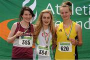 28 July 2012; Winner of the Girl's Under-17 3,000m Walk event Sinead Burke, St.Cocas A.C., Kilcock, Co. Kildare, centre, with second placed Edel Glennon, Mullingar Harriers A.C., Co. Westmeath, left, and third placed Patrice O'Gorman, Adamstown A.C., Lucan, Co. Dublin. Woodie's DIY Juvenile Track and Field Championships of Ireland, Tullamore Harriers Stadium, Tullamore, Co. Offaly. Picture credit: Tomas Greally / SPORTSFILE