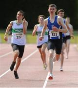 28 July 2012; Eventual winner Rob Tully, right, Star of the Sea A.C., Co. Meath, and eventual second place finisher Kyle Larkin, Emerald A.C., Co. Limerick, in action during the Boy's Under-18 1,500m event. Woodie's DIY Juvenile Track and Field Championships of Ireland, Tullamore Harriers Stadium, Tullamore, Co. Offaly. Picture credit: Tomas Greally / SPORTSFILE