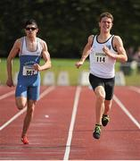 28 July 2012; Zak Irwin, Sligo A.C., Co. Sligo, right, leads second placed finisher Dean Power, Tullamore Harriers A.C., Co. Offaly, on the way to winning the Boy's Under-17 200m event. Woodie's DIY Juvenile Track and Field Championships of Ireland, Tullamore Harriers Stadium, Tullamore, Co. Offaly. Picture credit: Tomas Greally / SPORTSFILE
