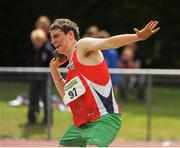 28 July 2012; Keith Beirne, Mohill A.C., Co. Leitrim, in action during the Boy's Under-16 Shot Putt event. Woodie's DIY Juvenile Track and Field Championships of Ireland, Tullamore Harriers Stadium, Tullamore, Co. Offaly. Picture credit: Tomas Greally / SPORTSFILE