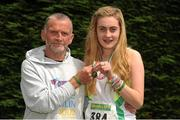 28 July 2012; Winner of the Girl's Under-17 3,000m Walk Sinead Burke, St. Cocas A.C., Kilcock, Co. Kildare, with her coach Bobby King who holds the World Record in the Over 65 age group 3,000m walk event. Woodie's DIY Juvenile Track and Field Championships of Ireland, Tullamore Harriers Stadium, Tullamore, Co. Offaly. Picture credit: Tomas Greally / SPORTSFILE