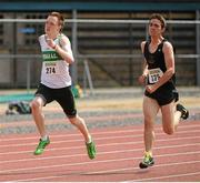 28 July 2012; Thomas Blake, left, Emerald A.C., Co. Limerick and Oisin Foley, right, Dunshaughlin A.C., Co. Meath, in action during the Boy's Under-18 200m event.. Woodie's DIY Juvenile Track and Field Championships of Ireland, Tullamore Harriers Stadium, Tullamore, Co. Offaly. Picture credit: Tomas Greally / SPORTSFILE