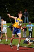 28 July 2012; Jacob Loughnane, Marian A.C., Co. Clare, in action during the Boy's Under-17 Javelin event. Woodie's DIY Juvenile Track and Field Championships of Ireland, Tullamore Harriers Stadium, Tullamore, Co. Offaly. Picture credit: Tomas Greally / SPORTSFILE