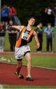 28 July 2012; Stephen Rice, Greystones & District A.C., on his way to winning the Boy's Under-17 Javelin event. Woodie's DIY Juvenile Track and Field Championships of Ireland, Tullamore Harriers Stadium, Tullamore, Co. Offaly. Picture credit: Tomas Greally / SPORTSFILE