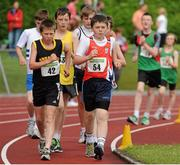 28 July 2012; James McNabola, right, Mohill A.C., Co. Leitrim, leads the field with eventual second place finisher David Kenny, 42, Farranfore Maine Valley A.C., Co. Kerry, on his way to winning the Boy's Under-14 2,000m Walk event. Woodie's DIY Juvenile Track and Field Championships of Ireland, Tullamore Harriers Stadium, Tullamore, Co. Offaly. Picture credit: Tomas Greally / SPORTSFILE