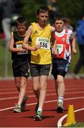 28 July 2012; Joe Mooney, Adamstown A.C., Lucan, Co. Dublin, on his way to winning the Boy's Under-15 2000m Walk event, followed by winner of the Boy's Under-14 2,000m Walk event James McNabola, right, Mohill A.C., Co. Leitrim, and second place finisher David Kenny, left, Farranfore Maine Valley A.C., Co. Kerry. Woodie's DIY Juvenile Track and Field Championships of Ireland, Tullamore Harriers Stadium, Tullamore, Co. Offaly. Picture credit: Tomas Greally / SPORTSFILE