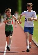 28 July 2012; Adam McInerney, left, Suncroft A.C., Co. Kildare, and Andrew Carroll, right, Celbridge A.C., Co. Kildare, in action during the Boy's Under-14 2,000m Walk event. Woodie's DIY Juvenile Track and Field Championships of Ireland, Tullamore Harriers Stadium, Tullamore, Co. Offaly. Picture credit: Tomas Greally / SPORTSFILE