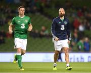 6 October 2017; Ciaran Clark, left, and David Meyler of the Republic of Ireland prior to the FIFA World Cup Qualifier Group D match between Republic of Ireland and Moldova at Aviva Stadium in Dublin. Photo by Stephen McCarthy/Sportsfile