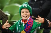 6 October 2017; Republic of Ireland supporter Martin Conroy, age 8, from Killigh, Co Offaly, prior to the FIFA World Cup Qualifier Group D match between Republic of Ireland and Moldova at Aviva Stadium in Dublin. Photo by Eóin Noonan/Sportsfile