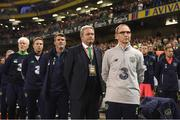6 October 2017; The Republic of Ireland bench, from right, manager Martin O'Neill, coach Steve Walford, assistant manager Roy Keane, coach Steve Guppy, goalkeeping coach Seamus McDonagh, before the FIFA World Cup Qualifier Group D match between Republic of Ireland and Moldova at Aviva Stadium in Dublin. Photo by Stephen McCarthy/Sportsfile