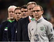 6 October 2017; The Republic of Ireland bench, from right, manager Martin O'Neill, coach Steve Walford, assistant manager Roy Keane, coach Steve Guppy, goalkeeping coach Seamus McDonagh, before the FIFA World Cup Qualifier Group D match between Republic of Ireland and Moldova at Aviva Stadium in Dublin. Photo by Seb Daly/Sportsfile