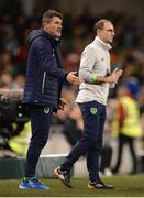 6 October 2017; Republic of Ireland manager Martin O'Neill, right, and assistant manager Roy Keane during the FIFA World Cup Qualifier Group D match between Republic of Ireland and Moldova at Aviva Stadium in Dublin. Photo by Cody Glenn/Sportsfile