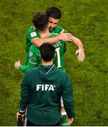 6 October 2017; Sean Maguire of Republic of Ireland is embraced by team-mate Shane Long as he comes on as a substitute during the FIFA World Cup Qualifier Group D match between Republic of Ireland and Moldova at Aviva Stadium in Dublin. Photo by Brendan Moran/Sportsfile