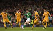 6 October 2017; Sean Maguire of Republic of Ireland in action against Moldova players, from left, Artur Ionita, Alexandru Epureanu and Gheorghe Anton during the FIFA World Cup Qualifier Group D match between Republic of Ireland and Moldova at Aviva Stadium in Dublin. Photo by Stephen McCarthy/Sportsfile