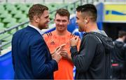 7 October 2017; Jamie Heaslip of Leinster, left, with Peter O'Mahony, centre, and Conor Murray of Munster prior to the Guinness PRO14 Round 6 match between Leinster and Munster at the Aviva Stadium in Dublin. Photo by Brendan Moran/Sportsfile
