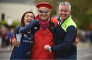 7 October 2017; Munster supporters, from left, Bronwyn Collins, from Tullamore, Co. Offaly, Jerry Collins, from Murroe, Co. Limerick and Trevor Duffy, from Tullamore, Co. Offaly ahead of the Guinness PRO14 Round 6 match between Leinster and Munster at the Aviva Stadium in Dublin. Photo by Cody Glenn/Sportsfile