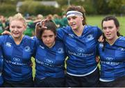7 October 2017; Leinster captain Judy Bobbett, second right, talks to her team following their victory during the U18 Girls Interprovincial match between Leinster and Connacht at MU Barnhall RFC in Leixlip, Co Kildare. Photo by Seb Daly/Sportsfile