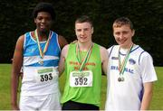 28 July 2012; Boy's Under-16 Shot Putt and Discus winners, from left, Anu Swonusi, St. Laurence O'Toole A.C, Co. Carlow, who won silver in the Shot Putt and bronze in the Discus, Eoin Sheridan, Shannon A.C., Co. Clare, who won gold in both events and John Joe Kelly, Brow Rangers A.C., Co. Kilkenny, who won siver in the Discus and bronze in the Shot Putt. Woodie's DIY Juvenile Track and Field Championships of Ireland, Tullamore Harriers Stadium, Tullamore, Co. Offaly. Picture credit: Tomas Greally / SPORTSFILE