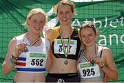 28 July 2012; Winner of the Girl's Under-18 200m event Cliodhna Manning, Kilkenny City Harriers A.C., Co. Kilkenny, centre, with second placed Sarah Mc Carthy, Mid Sutton A.C., Co. Dublin, left, and third placed Jade Leahy, DSD A.C., Dublin. Woodie's DIY Juvenile Track and Field Championships of Ireland, Tullamore Harriers Stadium, Tullamore, Co. Offaly. Picture credit: Tomas Greally / SPORTSFILE