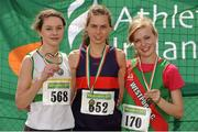 28 July 2012; Winner of the Girl's Under-18 3,000m Walk event Alicia Boylan, Oriel A.C., Co. Monaghan, centre, with second placed Siobhan Nash, St. Abbans A.C., Co. Laois, left, and third placed Ashling Heneghan, Westport A.C., Co. Mayo. Woodie's DIY Juvenile Track and Field Championships of Ireland, Tullamore Harriers Stadium, Tullamore, Co. Offaly. Picture credit: Tomas Greally / SPORTSFILE