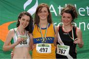 28 July 2012; Winner of the Girl's Under-19 3,000m Walk event Claudia Loughnane, Marian A.C., Co. Clare, centre, with second placed Sarah Bourke, St. Coca's A.C., Co. Kildare, left, and third placed Cliona Mulroy, Swinford A.C., Co. Mayo. Woodie's DIY Juvenile Track and Field Championships of Ireland, Tullamore Harriers Stadium, Tullamore, Co. Offaly. Picture credit: Tomas Greally / SPORTSFILE
