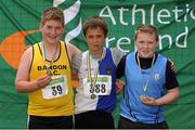 28 July 2012; Winner of the Boy's Under-14 Discus event Eoin Mulligan, Tullamore Harriers A.C., Co. Offaly, centre, with second placed Travis Coomey, Bandon A.C., left, and third placed David Murray, St. Annes A.C., Co. Wexford. Woodie's DIY Juvenile Track and Field Championships of Ireland, Tullamore Harriers Stadium, Tullamore, Co. Offaly. Picture credit: Tomas Greally / SPORTSFILE