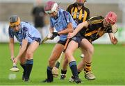 28 July 2012; Kellie Hamilton, Kilkenny, in action against Laura Twomey, left, and Ciara Burgess, Dublin. All-Ireland Senior Camogie Championship, Quarter-Final Qualifier, Dublin v Kilkenny, O'Moore Park, Portlaoise, Co. Laois. Picture credit: Pat Murphy / SPORTSFILE